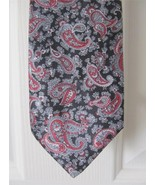 """Envoy Mens Black Gray Red Paisley Silk/Polyester Tie 57"""" x 3"""" wide - $4.99"""