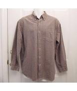 New Sz M Route 66 Mens Browns /Beige Sm Check Button Collar Cotton Casua... - $7.99