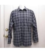 New Sz L Haband Mens Blues White Large & Small Squares Cotton Blend LS S... - $7.99