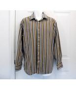 L 16 GAP Fitted Premium Mens Gold Blue Brown Stripe Cotton Shirt New / L... - $7.99