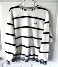 M IZOD Club Mens Unisex White w/Navy Stripes Cotton Knit 3/4 Sleeve Polo... - $7.99