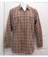 Sz L Haband Mens Multi Brown Large Checks Cotton Blend LS Shirt Faded Lo... - $7.99