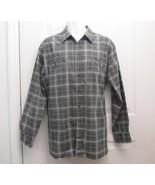 Sz L Haband Mens Multi Grays Large Checks Cotton Blend LS Shirt Faded Lo... - $6.99