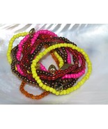 Estate Lot of 10 Yellow Pink Red & Bronze Bead with Small Charms Stretch... - $8.59