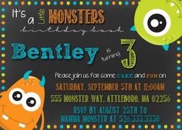 Monsters chalkboard birthday, baby shower invitation, personalized, Mons... - £0.70 GBP