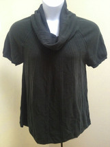 ANA XL Top Green Pointelle Knit Cowl Neck Short Sleeve Ribbed - $14.69