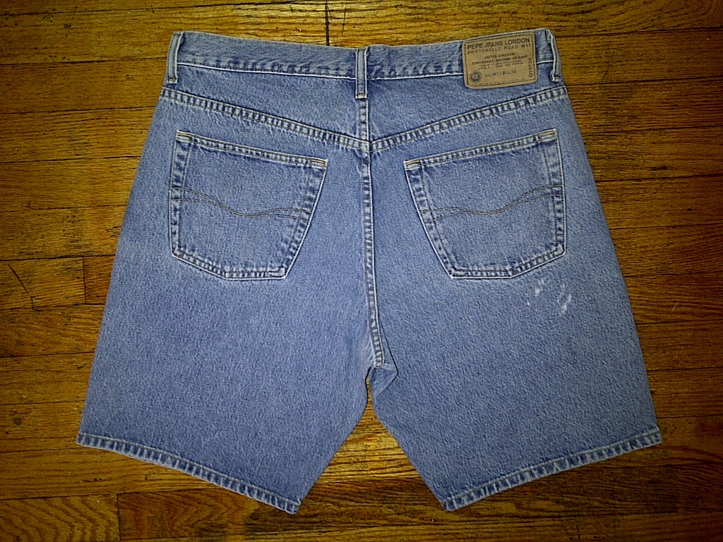 Pepe Jeans London Hip Hop Urban Baggy Light Blue Denim Jean Shorts 36