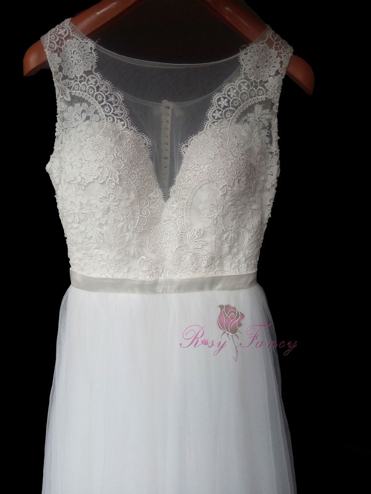 Rosyfancy illusion v neck lace and tulle casual wedding for Casual lace wedding dress