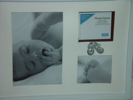 BABY PICTURE FRAME NEW W/ SHOES ON FRAME HOLD THREE PICTURES - $10.00