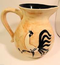 Pennsbury Pottery Rooster Black Tail Feathers Pitcher Mint Signed - $59.95