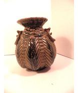 Brown Majolica Pottery Basketweave Vase Mint - $39.95