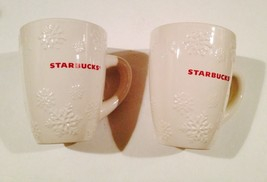 SET OF 2 STARBUCKS SNOWFLAKE MUGS COFFEE DRINKING CREAM COLOR  - $16.10