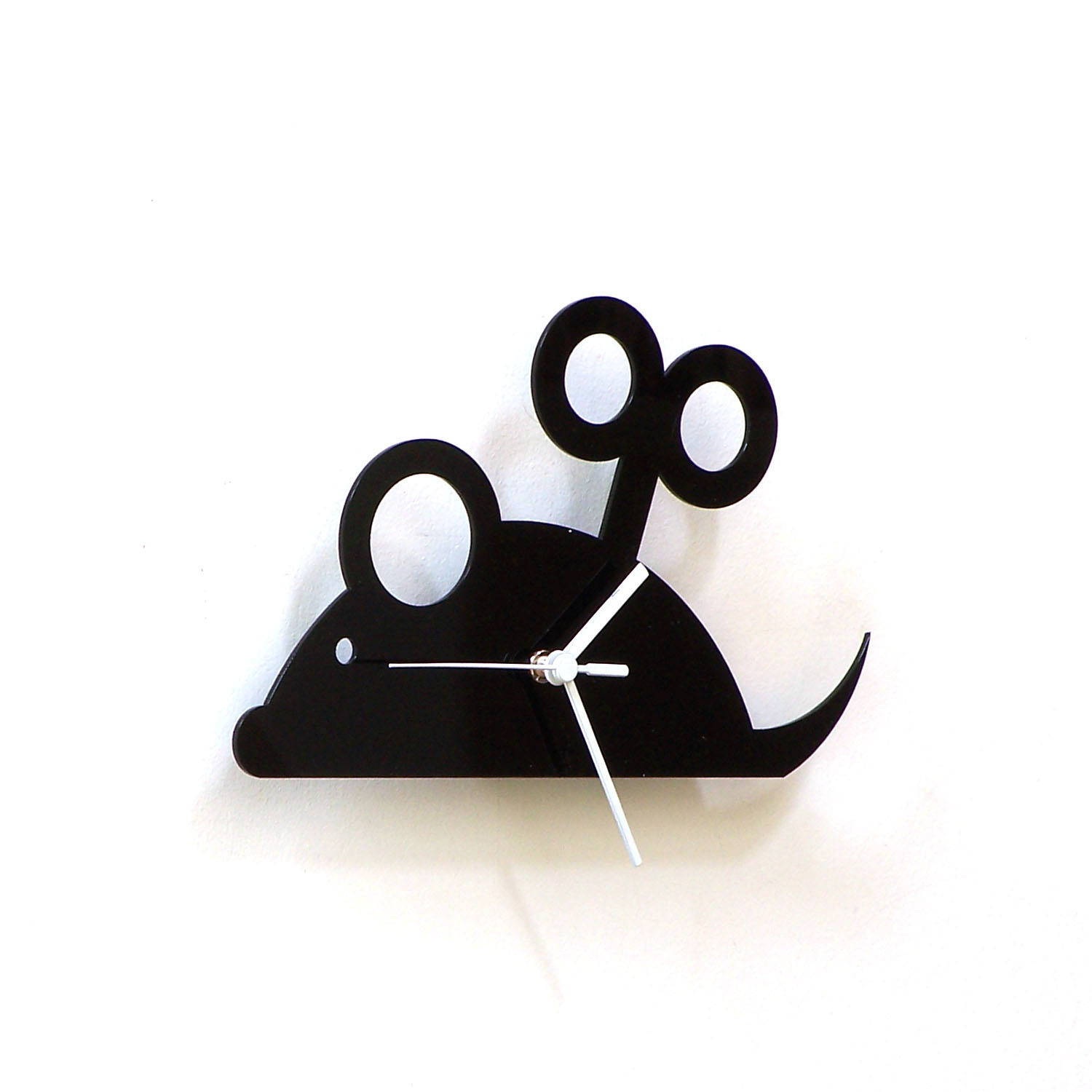Wind up toy mouse - black acrylic wall clock, a piece of retro wall art