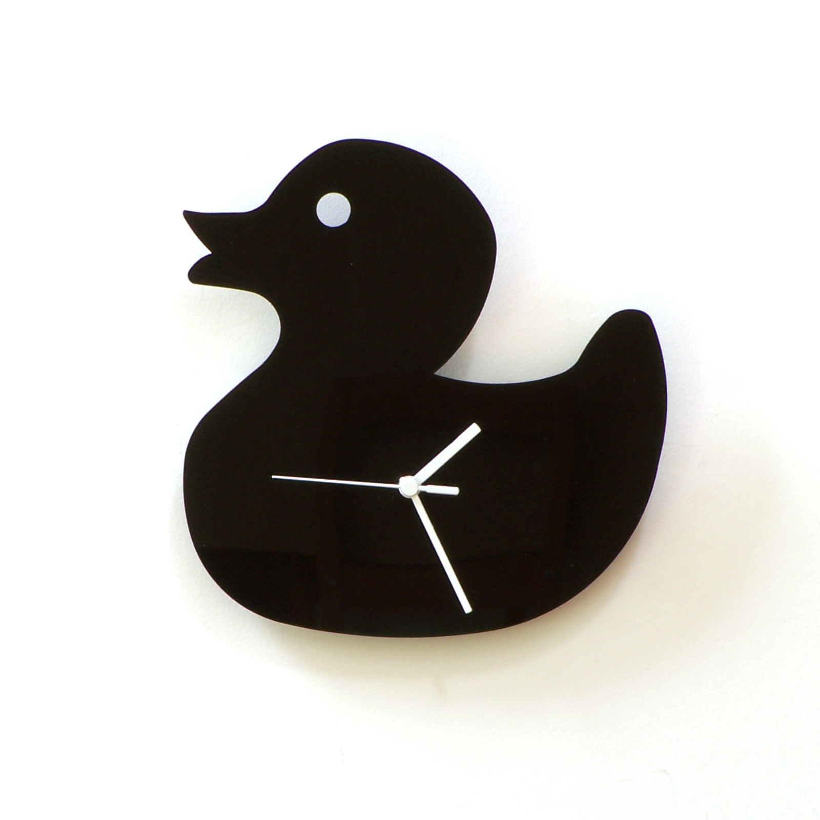 Exciting black acryliic wall clock   duck   front