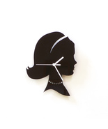 Head of an elegant woman with necklace - black ... - $29.00