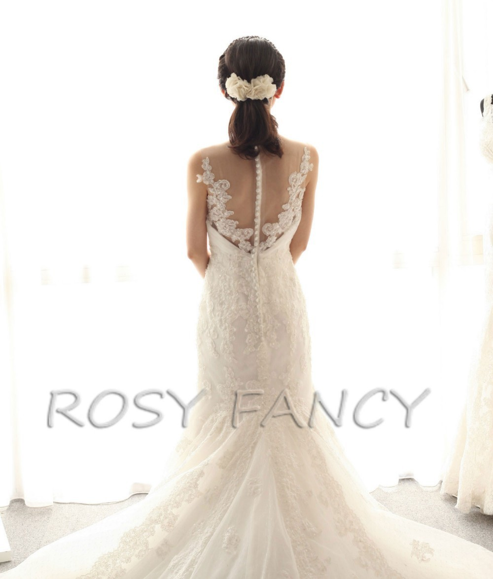 Detachable Cathedral Train Wedding Gown: Rosyfancy Crystals Beading Lace Detachable Cathedral Train