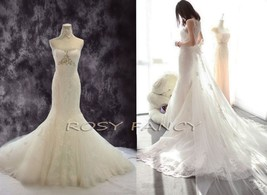 Rosyfancy Crystals Beading Lace Detachable Cathedral Train Mermaid Wedding Dress - $495.00