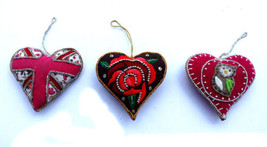 3 Christmas Fabric Home Decor Xmas New Heart Ornament Tree Hanging Party  - $17.75