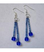 Blue Beaded Handmade Earrings 2 Strand Square Beads Silver Metal Pierced... - $26.00