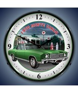 New old 1970 Chevrolet Monte Carlo car LIGHT UP  clock & Texaco Gas Stat... - $159.95
