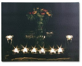 Canvas Wall Art - LED Lighted Canvas with Flowers and Candles - Lighted ... - $12.99