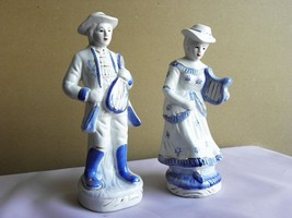 Blue Cobalt White & Gold 2 Porcelain Figures of Musicians Lyre Mandolin ... - $18.49