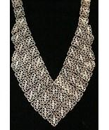 "Gold Tone Bib Collar ""V"" Necklace Bold Statement 5/8"" square chain links - $44.46"