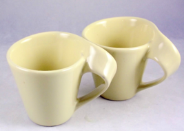 Pair yellow ceramic espresso demitasse coffee cups curved handles unmarked - $17.89