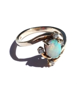 Genuine Opal Diamond Ring 14K Yellow Gold Size 5 1/2 - $359.00