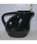 "Decorative Black Ceramic 7"" Pitcher/Creamer with Raised Gold Floral Desi... - $5.67"