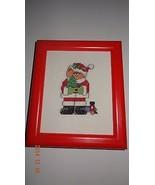 Santa Bear red frame Finished Cross Stitch - $39.32