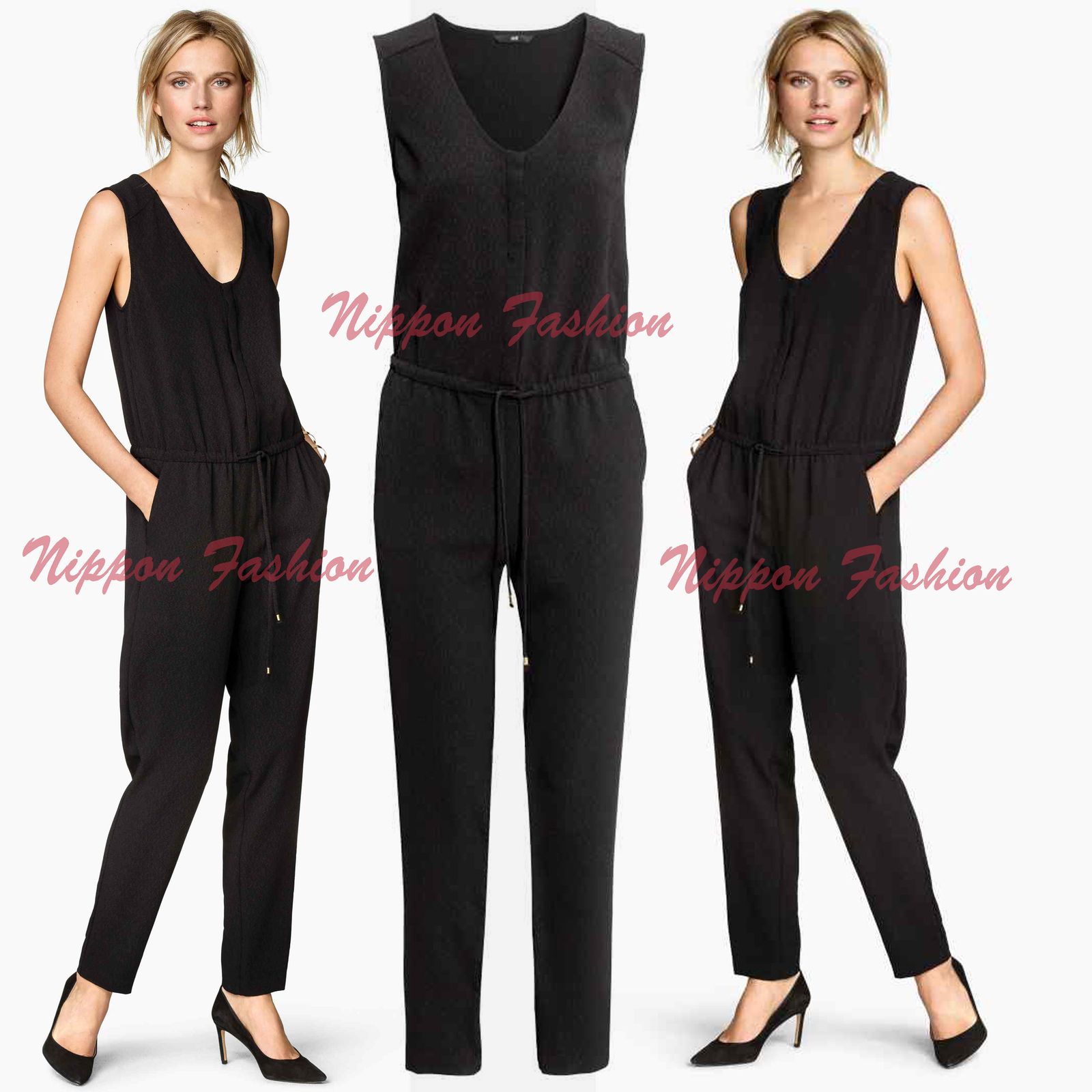 H&M Jersey Sleeveless Jumpsuit Party Drawstring Romper Trousers Clubwear Pants - $79.99