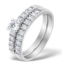 14k White Gold Fn Round Cut White CZ 925 Women Engagement & Wedding Ring Set - $68.94