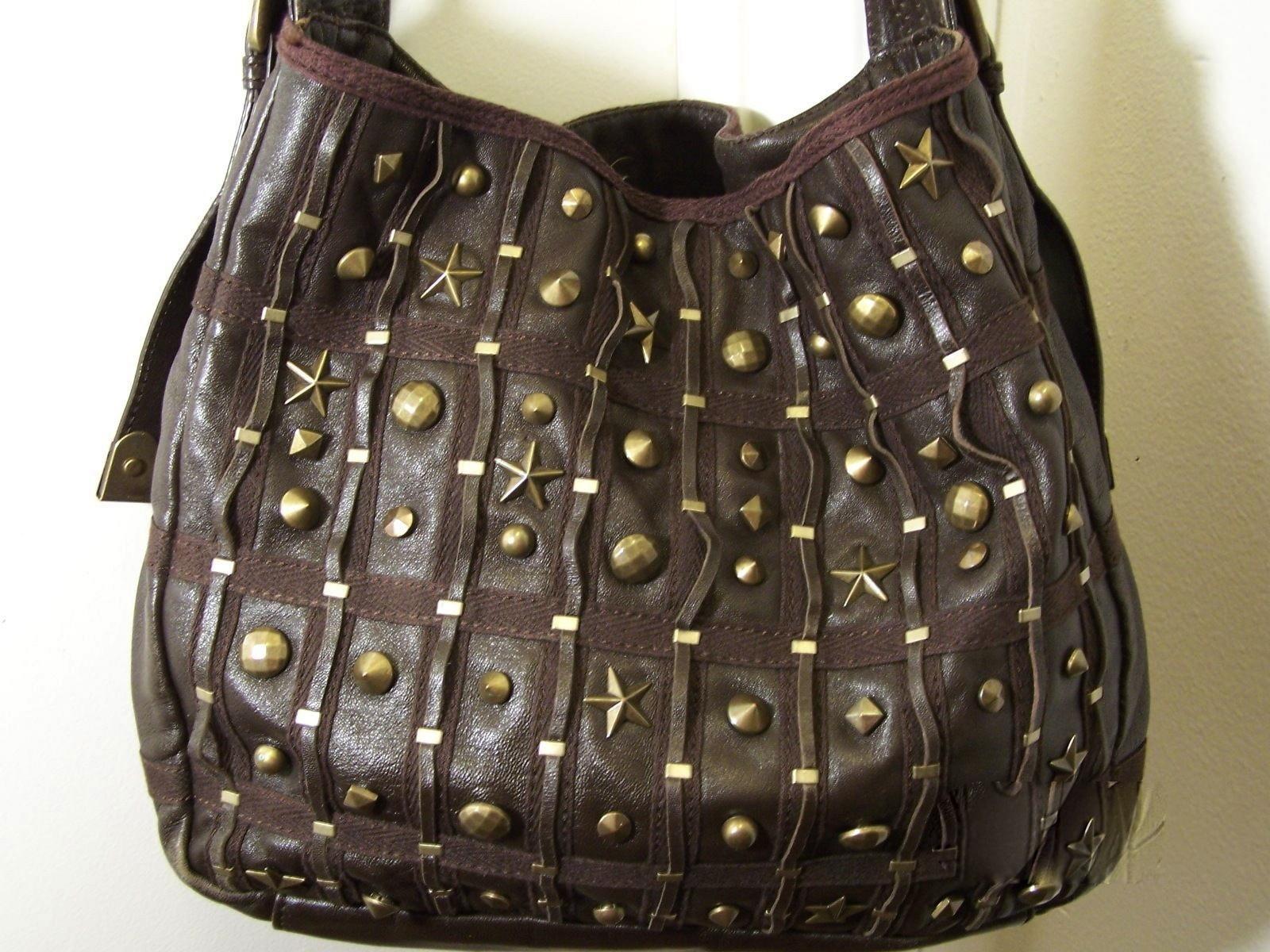 Betsey Johnson Brown Leather Shoulder Bag/Purse w/Bronze Tone Studs Decor