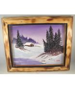 Winter Landscape Acrylic Painting in Custom Burnt Wood Frame 8x10 Mounta... - $20.00