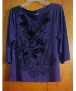 Rebecca Malone Petite XL Jersey Style 3/4 Sleeve Top Purple Black Velvet... - $14.85