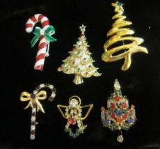 Vintage  Rhinestone Christmas Tree Pin Brooch Signed Warner and more - $95.00