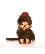 Geek Monchhichi doll with brown fur 1974s baby pacifier freckles Vintage... - $24.74