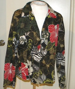 Chico's floral animal print lg slv button front Blouse top jacket shirt ... - $19.99