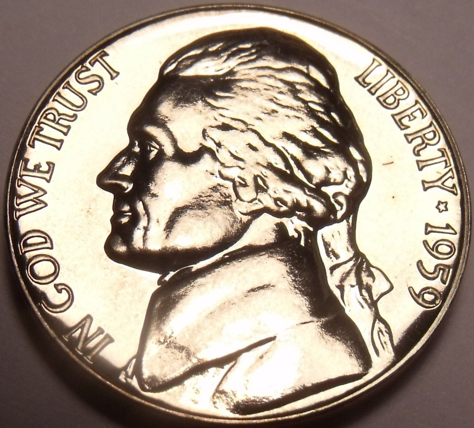 Scarce Gem Proof 1959 Jefferson Nickel~Excellent~Free Shipping - $5.77