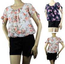 Cap Sleeve Summer CHIFFON Print BLOUSE Shirt Pleat Front Lining Beach Pa... - $19.99