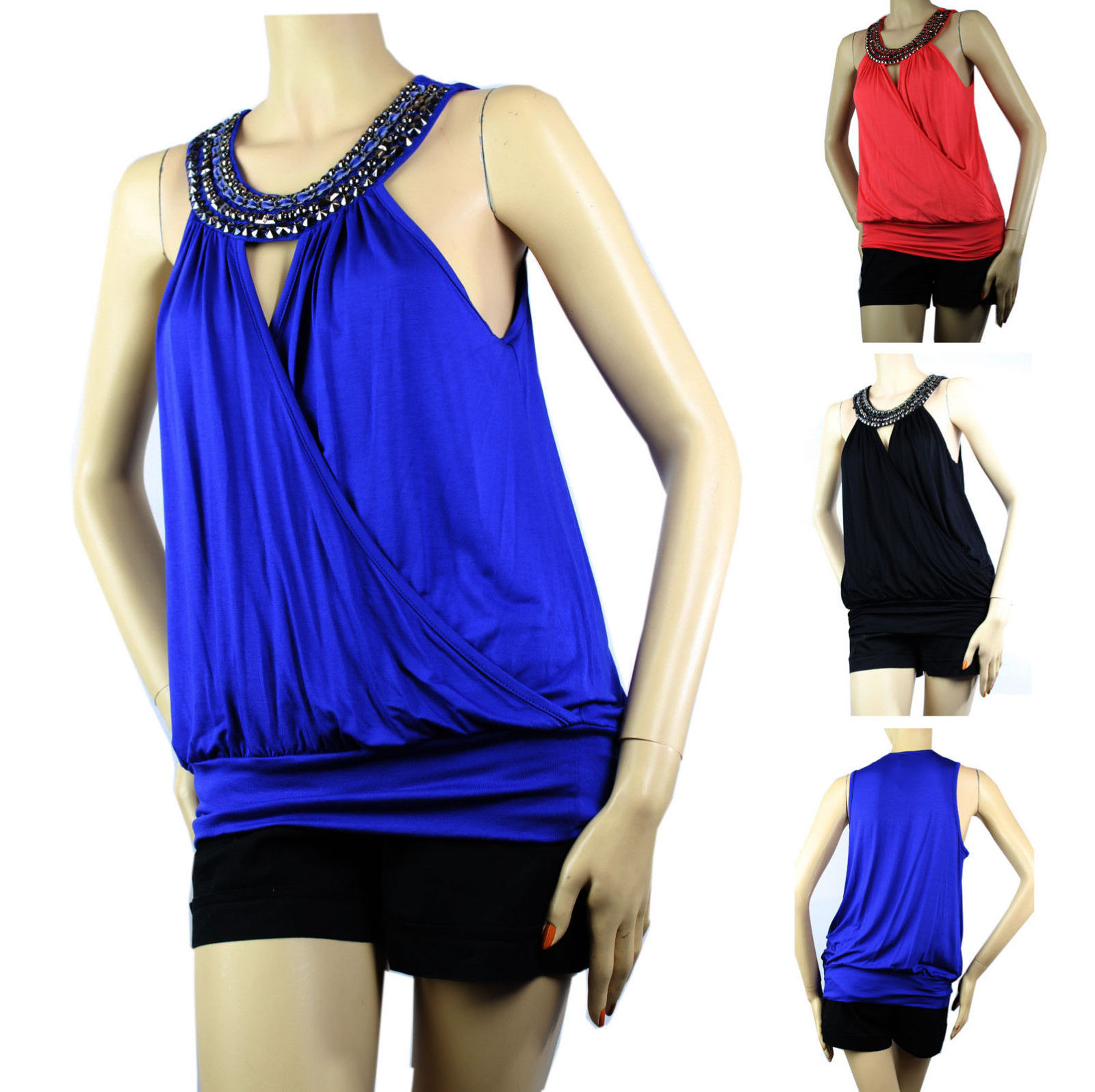 Bead Necklace Wrap Tank Top BLOUSE Layering Summer Casual Party Sexy Shirts