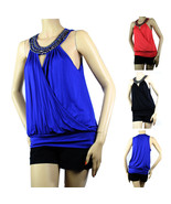 Bead Necklace Wrap Tank Top BLOUSE Layering Summer Casual Party Sexy Shirts - $19.99