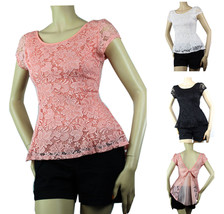 Floral Lace Peplum BLOUSE Shirts  Deep Open Back Tie Bow Layer Summer Se... - $19.99