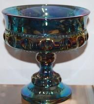 Beautiful Indiana Blue Carnival Glass Wedding B... - $29.77