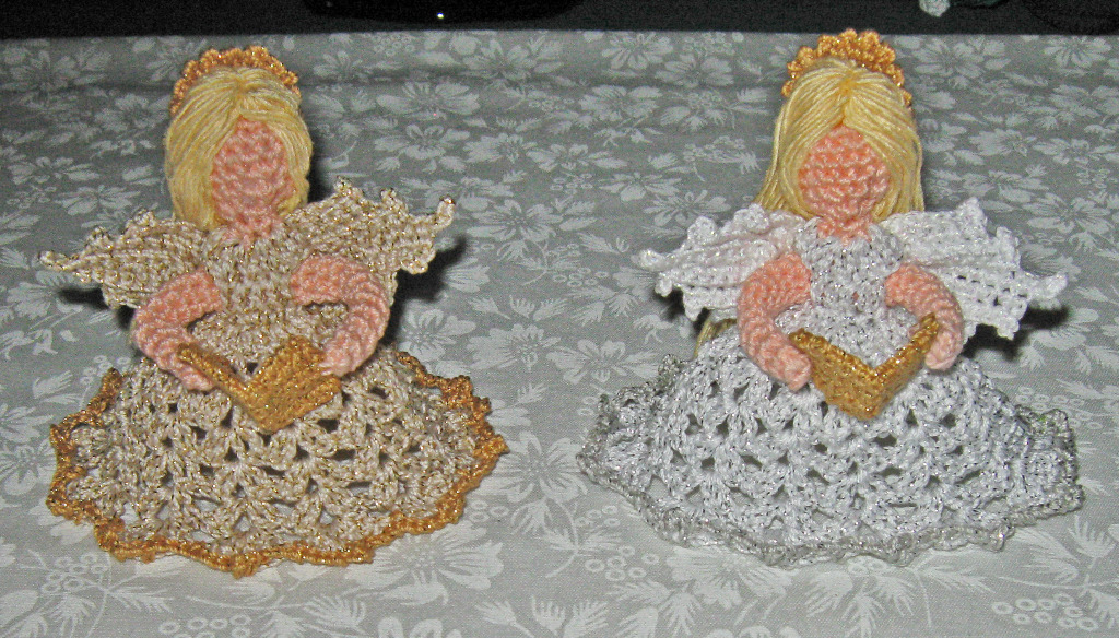 Two Little Christmas Angel, metallic gold and natural, metallic white and silver
