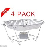 4 PACK Buffet Chafer Food Warmer Wire Frame Stand Rack half Size Chafing... - $35.64