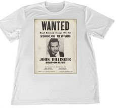 John Dillinger Wanted Poster Wicking T-Shirt w American Flag Car Coaster - $14.95