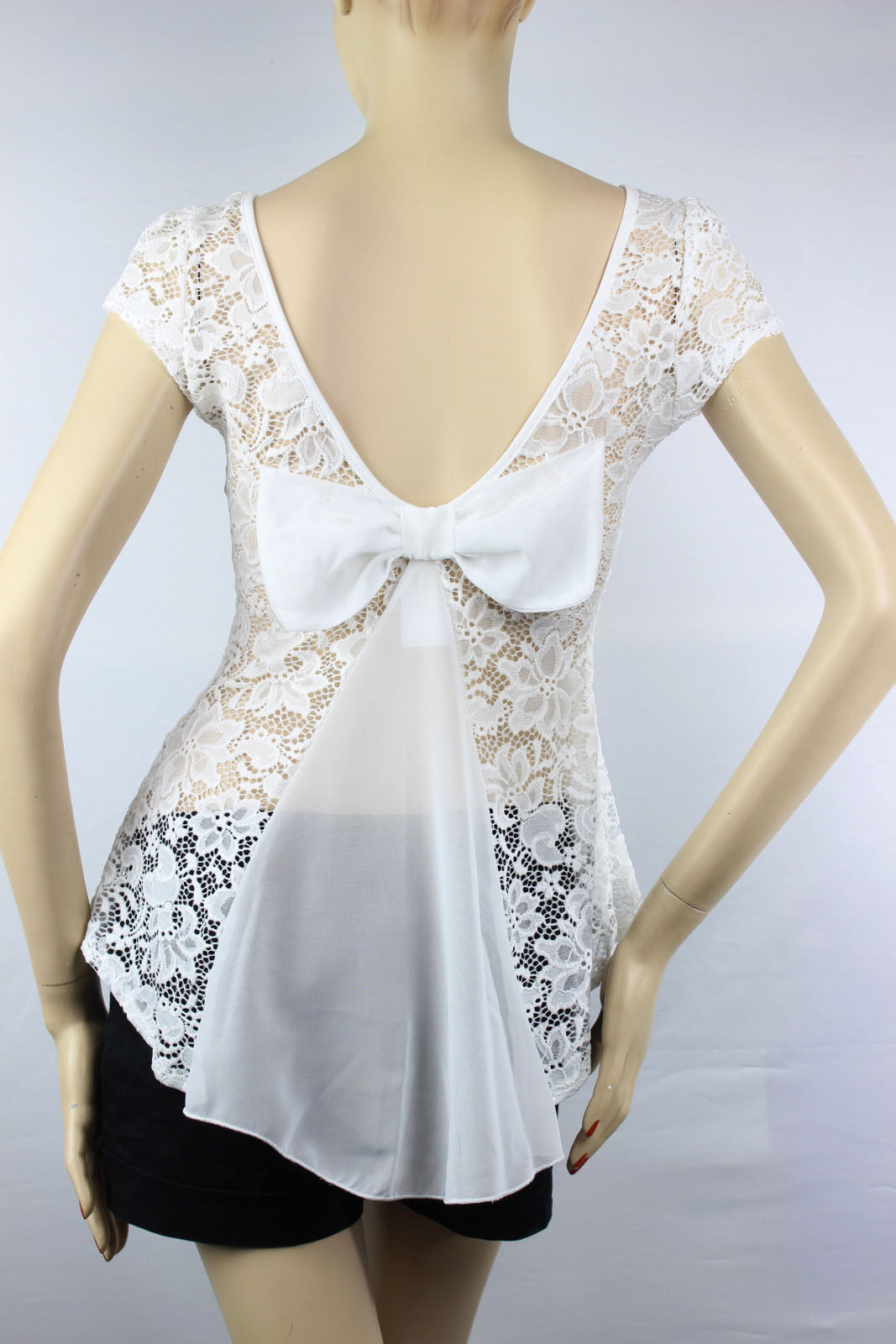 Floral Lace Peplum BLOUSE Shirts  Deep Open Back Tie Bow Layer Summer Sexy  Top
