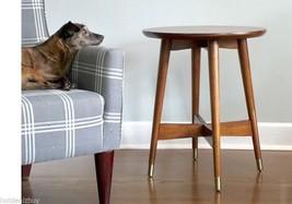 Mid Century Side End Table Round Top Wood Modern Vintage Living Room Fur... - $214.61 CAD